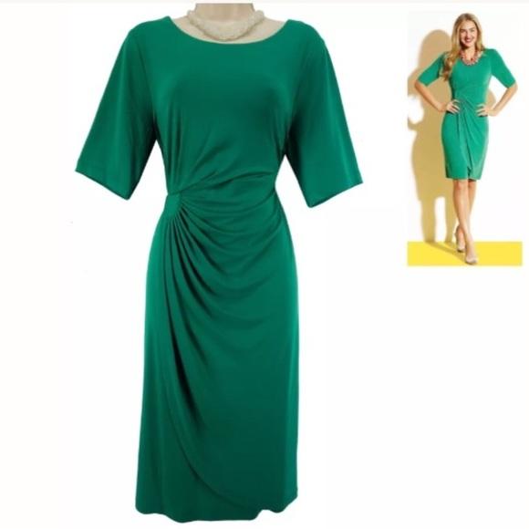 Dress Barn Dresses 24 3xemerald Green Fauxwrap Dress Plus Size